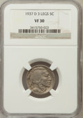 Buffalo Nickels: , 1937-D 5C Three-Legged VF30 NGC. NGC Census: (205/4618). PCGSPopulation (329/4989). Mintage: 17,826,000. Numismedia Wsl. P...