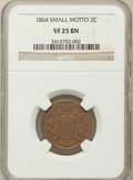 Two Cent Pieces, 1864 2C Small Motto VF25 Brown NGC. NGC Census: (5/303). PCGSPopulation (13/269). Mintage: 19,847,500. Numismedia Wsl. Pri...
