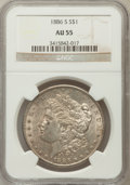 Morgan Dollars: , 1886-S $1 AU55 NGC. NGC Census: (165/2913). PCGS Population (189/4787). Mintage: 750,000. Numismedia Wsl. Price for problem...