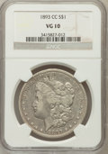 Morgan Dollars: , 1893-CC $1 VG10 NGC. NGC Census: (79/2669). PCGS Population(169/4936). Mintage: 677,000. Numismedia Wsl. Price for problem...