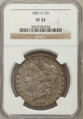 Morgan Dollars: , 1886-O $1 VF35 NGC. NGC Census: (34/4239). PCGS Population (23/4347). Mintage: 10,710,000. Numismedia Wsl. Price for proble...