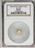 California Fractional Gold: , 1854 50C Liberty Octagonal 50 Cents, BG-305, Low R.4, MS63 NGC.PCGS Population (33/8). (#10425)...