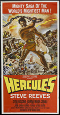 "Movie Posters:Adventure, Hercules (Warner Brothers, 1959). Three Sheet (41"" X 81"").Adventure. Starring Steve Reeves, Sylva Koscina, Fabrizio Mioni,..."