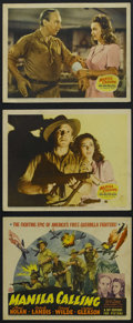 "Movie Posters:War, Manila Calling (20th Century-Fox, 1942). Title Lobby Card (11"" X14"") and Lobby Cards (2) (11"" X 14""). War. Starring Lloyd N...(Total: 3 Items)"
