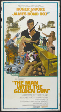 """The Man With the Golden Gun (United Artists, 1974). Three Sheet (41"""" X 81""""). Spy Thriller. Starring Roger Moor..."""