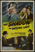 "Movie Posters:Crime, The Missing Lady (Monogram, 1946). One Sheet (27"" X 41""). Crime.Starring Kane Richmond as The Shadow, Barbara Reed, George ..."