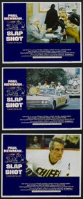"Movie Posters:Action, Slap Shot (Universal, 1977). Lobby Cards (3) (11"" X 14""). SportsComedy. Starring Paul Newman, Strother Martin, Michael Ontk...(Total: 3 Items)"