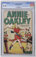 """Golden Age (1938-1955):Western, Annie Oakley #1 Davis Crippen (""""D"""" Copy) pedigree (Timely, 1948) CGC VF 8.0 Off-white pages. Hedy DeVine appearance. Overstr..."""