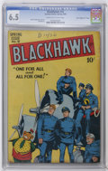 "Golden Age (1938-1955):War, Blackhawk #18 Davis Crippen (""D"" Copy) pedigree (Quality, 1948) CGCFN+ 6.5 Cream to off-white pages. Reed Crandall cover. C..."