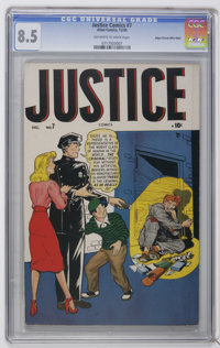Justice Comics #7 Mile High pedigree (Atlas, 1948) CGC VF+ 8.5 Off-white to white pages. Overstreet 2006 VF 8.0 value =...