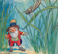 """JOHNNY GRUELLE (American, 1880-1938) """"Thumbkins Ran Beneath the Bushes and Down the Tiny Path Until He Came to"""