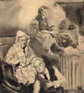 Mainstream Illustration, JAMES MONTGOMERY FLAGG (American, 1877-1960). Keeping Warm bythe Furnace. Ink wash on board. 22.25 x 20 in.. Signed upp...