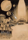 Pulp, Pulp-like, Digests, and Paperback Art, FRANK R. PAUL (American, 1884-1963). The Planet Juggler, pulpinterior story illustration. Pen and ink on board. 18.25 x...