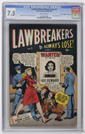 """Golden Age (1938-1955):Crime, Lawbreakers Always Lose! #1 Davis Crippen (""""D"""" Copy) pedigree (Marvel, 1948) CGC VF- 7.5 Off-white pages. Partial photo cove..."""