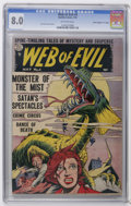 """Golden Age (1938-1955):Horror, Web of Evil #4 Davis Crippen (""""D"""" Copy) pedigree (Quality, 1953)CGC VF 8.0 Off-white pages. Jack Cole cover and art. Overst..."""