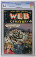 "Golden Age (1938-1955):Horror, Web of Mystery #12 Davis Crippen (""D"" Copy) pedigree (Ace, 1952)CGC VF 8.0 Cream to off-white pages. John Chilly's first co..."