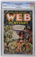 "Golden Age (1938-1955):Horror, Web of Mystery #20 Davis Crippen (""D"" Copy) pedigree (Ace, 1953)CGC VF 8.0 Off-white pages. Lou Cameron art. Highest CGC gr..."