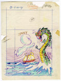 Original Comic Art:Miscellaneous, Warren Kremer - Spooky #142 Cover Preliminary Original Art (Harvey,1974). Casper scares the scales off a sea monster, in th...