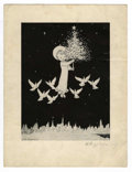 Original Comic Art:Miscellaneous, Willy Pogany - Christmas Card (undated). Lovely black and whiteChristmas card by premier illustrator, Willy Pogany. An extr...