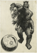Original Comic Art:Sketches, Pulp Magazine Illustration Original Art, Group of 2 (undated). Step aside Godzilla, this multi-headed and multi-limbed monst... (Total: 2 Items)