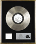 "Music Memorabilia:Awards, Air Supply ""Greatest Hits"" Platinum Album Award. Presented to JuneColbert to commemorate the sale of one million copies of ..."