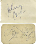 Music Memorabilia:Autographs and Signed Items, Johnny Cash and the Everly Brothers Autographs. Includes a smallnotepad leaf signed by Cash in blue ink and a music club ca...
