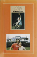Music Memorabilia:Autographs and Signed Items, Harry Chapin Autograph with Photo. A promo flyer signed by the latesinger-songwriter in black ink, matted along with a colo...
