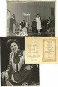 "Music Memorabilia:Autographs and Signed Items, Patsy Cline Signed Photo and Mini-Archive. A b&w 8"" x 10"" promophoto inscribed ""To Flora, Musically yours!"" and signed by t..."