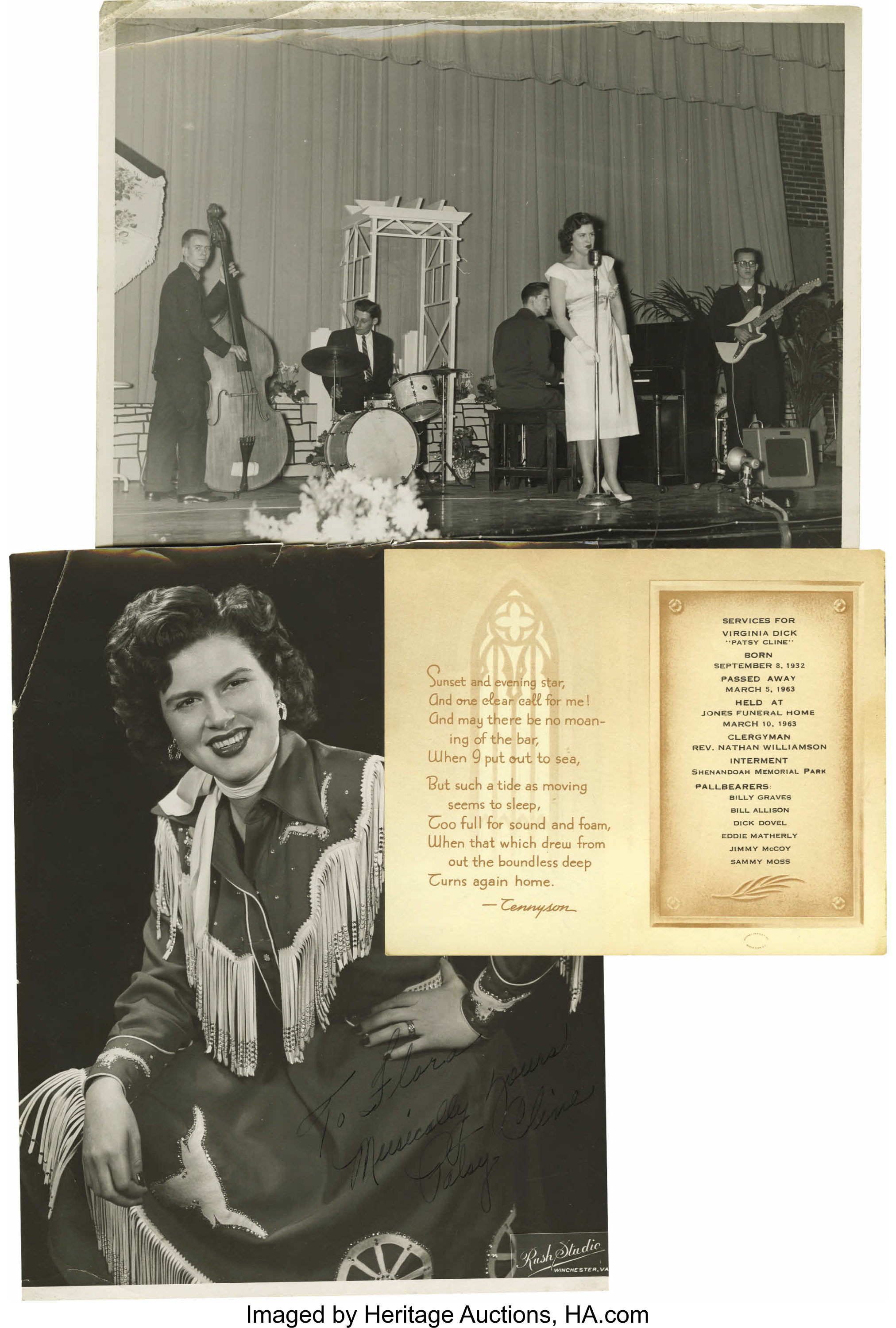 Patsy Cline Signed Photo And Mini Archive A B W 8 X 10