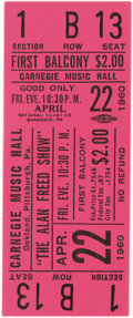 Music Memorabilia:Tickets, Alan Freed Show Carnegie Music Hall Concert Ticket (Alan Freed,1960). As we all know Alan Freed is widely regarded as the m...