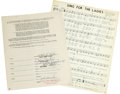 Music Memorabilia:Autographs and Signed Items, Bill Haley and Johnny Montana Signed Contract. A standard UniformPopular Songwriters Contract, dated May 3, 1957, setting ...