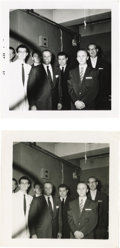 Music Memorabilia:Photos, Two Buddy Holly Photos. Two snapshots at a September, 1957 unknownengagement, possibly with Coral execs, with handwritten n...