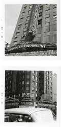 Music Memorabilia:Photos, Brooklyn Paramount Theatre Photos by Buddy Holly. Two snapshots ofthe Brooklyn Paramount Theatre, with handwritten notation...