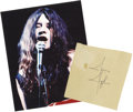 "Music Memorabilia:Autographs and Signed Items, Janis Joplin Autograph. An off-white 5.25"" x 5.5"" album page signedby Joplin in black ink, in Very Fine condition with a sm..."