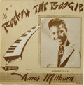 """Music Memorabilia:Recordings, Amos Milburn """"Rockin The Boogie"""" 10-inch LP Aladdin 704 (1955). Oneof the important bridges from R&B in the '40s to the fus..."""