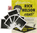"""Music Memorabilia:Autographs and Signed Items, Ricky Nelson Photos and Mementos. Includes seven b&w 3.5"""" x3.5"""" photos of Nelson performing at the Orpheum Theatre in Seatt..."""