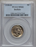 Buffalo Nickels: , 1938-D 5C MS66 PCGS. PCGS Population (27512/1567). NGC Census:(19029/1870). Mintage: 7,020,000. Numismedia Wsl. Price for ...