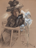 Mainstream Illustration, JOSEPH CHRISTIAN LEYENDECKER (American, 1874-1951). Seated Ladywith Elegant Hat, 1897. Gouache and ink on paper. 10.5 x...