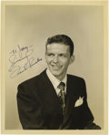 "Music Memorabilia:Autographs and Signed Items, Frank Sinatra Signed Photo. A b&w 8"" x 10"" photo of Chairman ofthe Board as a young crooner, inscribed ""To Jerry - Sincerel..."