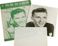 "Music Memorabilia:Autographs and Signed Items, Frank Sinatra Autograph with Photo and Sheet Music. Includes a 5.5""x 8.5"" sheet of paper inscribed ""To Jimmie"" and signed ..."