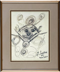 "Music Memorabilia:Autographs and Signed Items, Frank Sinatra Drawing. An abstract drawing by Frank Sinatra, blackink on paper, signed ""F. Sinatra, 1991, Monte Carlo,"" mat..."