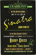 "Music Memorabilia:Memorabilia, Frank Sinatra Desert Inn Poster. An 11"" x 17"" heavy cardstockposter advertising a series of performances by Sinatra at the ..."