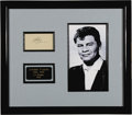 "Music Memorabilia:Autographs and Signed Items, Richie Valens Autograph Display. A sample of Valens' signature inpencil, matted and framed along with a b&w 5"" x 8"" photo p..."