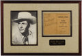 Music Memorabilia:Autographs and Signed Items, Hank Williams Signed Songbook Display A copy of Original Songsof Hank Williams the Drifting Cowboy Book 2 signed by the...