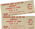 Music Memorabilia:Tickets, Woodstock Festival Tickets (2). This pair of unused tickets for theSunday, August 17, 1969, performances on the last day of...