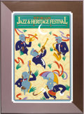 Music Memorabilia:Posters, 1982 New Orleans Jazz Festival Limited Edition Poster #4341 of12.500. An attractive poster, matted and framed to an overall...
