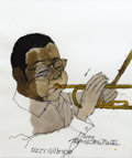 Music Memorabilia:Original Art, Dizzy Gillespie Watercolor Portrait. An original watercolorportrait of Dizzie Gillespie by David Stone Martin, 1991. In Exc...