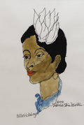 Music Memorabilia:Original Art, Billie Holiday Watercolor Portrait. An original watercolor portraitof Billie Holiday by David Stone Martin, 1991. In Excell...