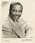 """Music Memorabilia:Autographs and Signed Items, Louis Jordan Signed Photo. A b&w 8"""" x 10"""" photo of the Swingbandleader, signed and dated July 23, 1948, by him in blue ink...."""