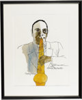 Music Memorabilia:Original Art, Charlie Parker Watercolor Portrait. An original watercolor portraitof Charlie Parker by David Stone Martin, 1991. In Excell...
